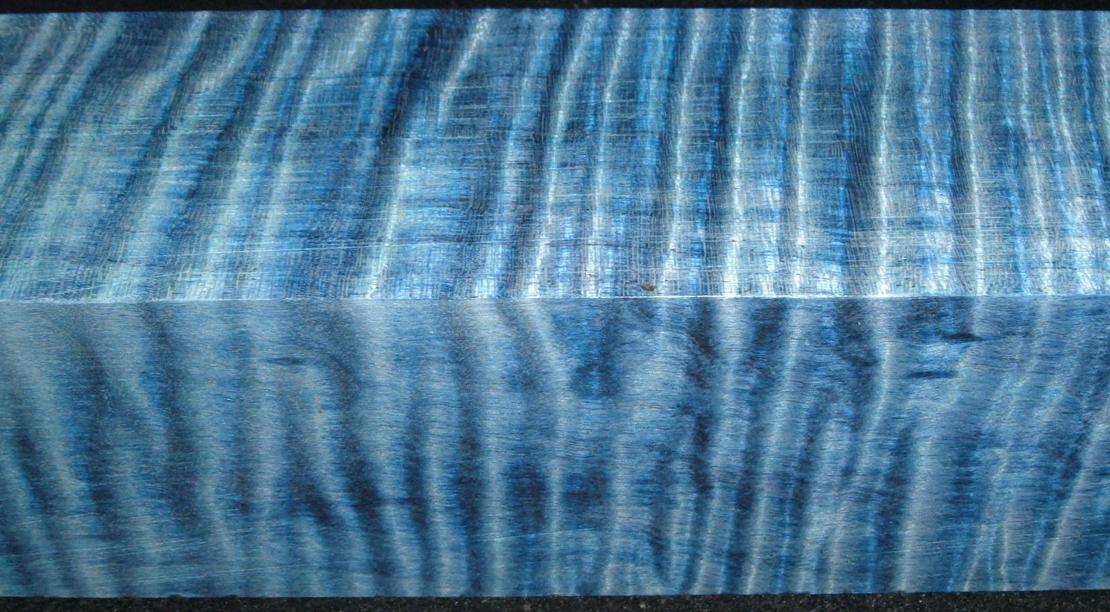 Z389, Curly Tiger Maple Dyed Stabilized, wood turning block, Blue, 1-7/8x1-7/8x6-1/2