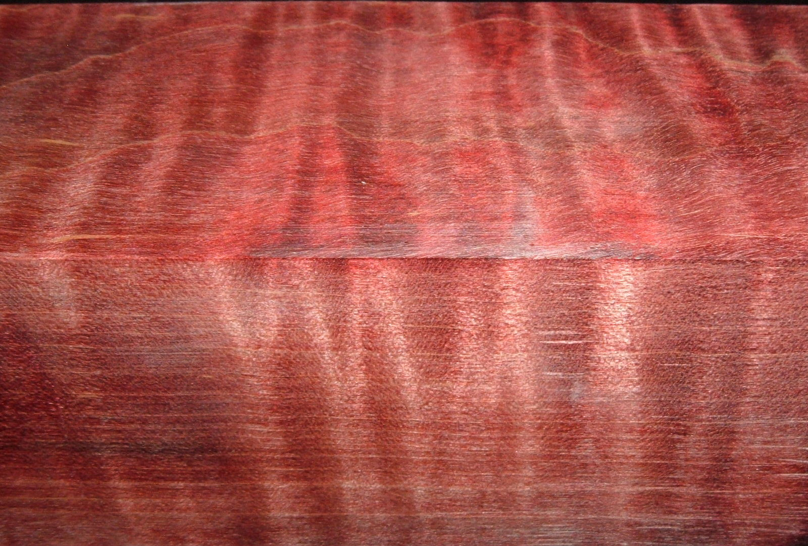 Z396, Curly Tiger Maple Dyed Stabilized, wood turning block, Red, 1-3/4x1-3/4x6-1/2