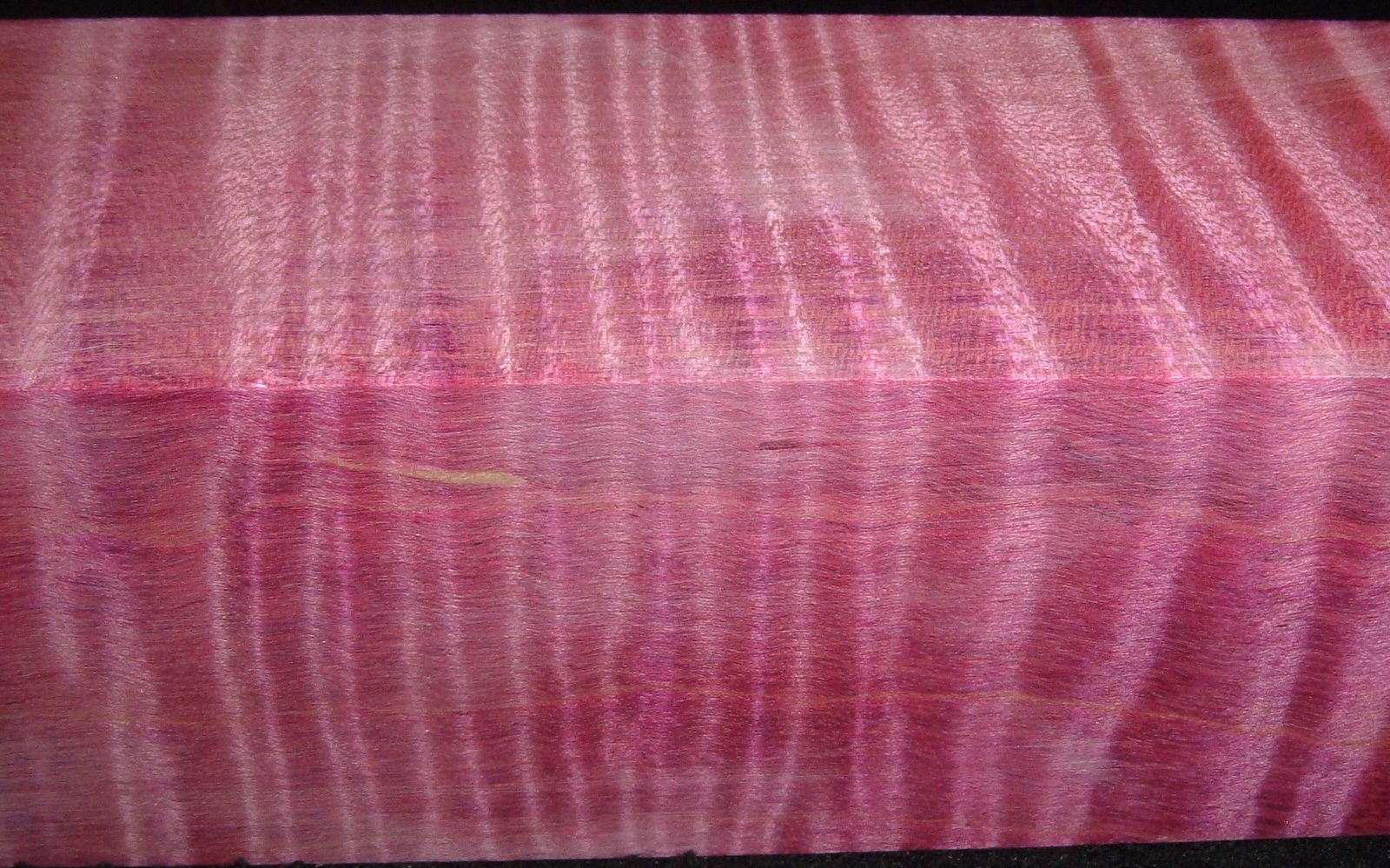 Z398, Curly Tiger Maple Dyed Stabilized, wood turning block, Magenta, 1-3/4x1-3/4x6-1/2
