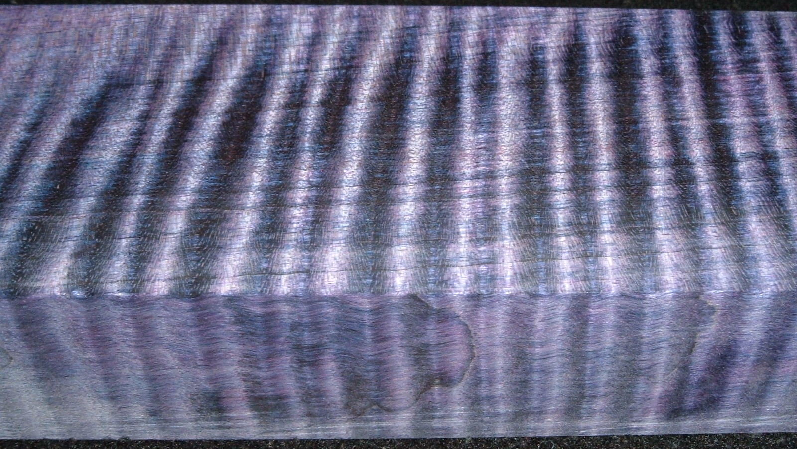 Z408, Curly Tiger Maple Dyed Stabilized, wood block scales/handle, Purple, 1-1/16x2x5-3/4