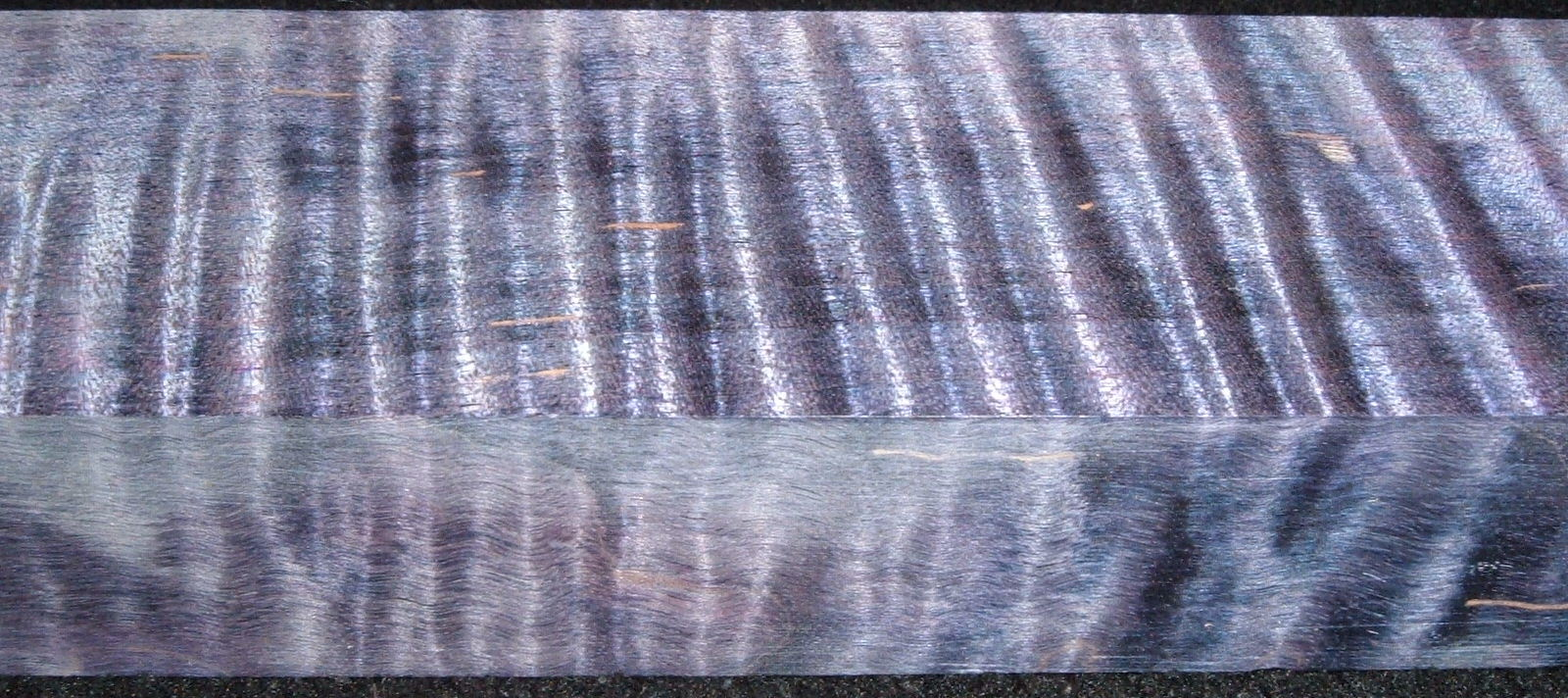 Z409, Curly Tiger Maple Dyed Stabilized, wood block scales/handle, Purple, 1-1/16x1-3/4x6