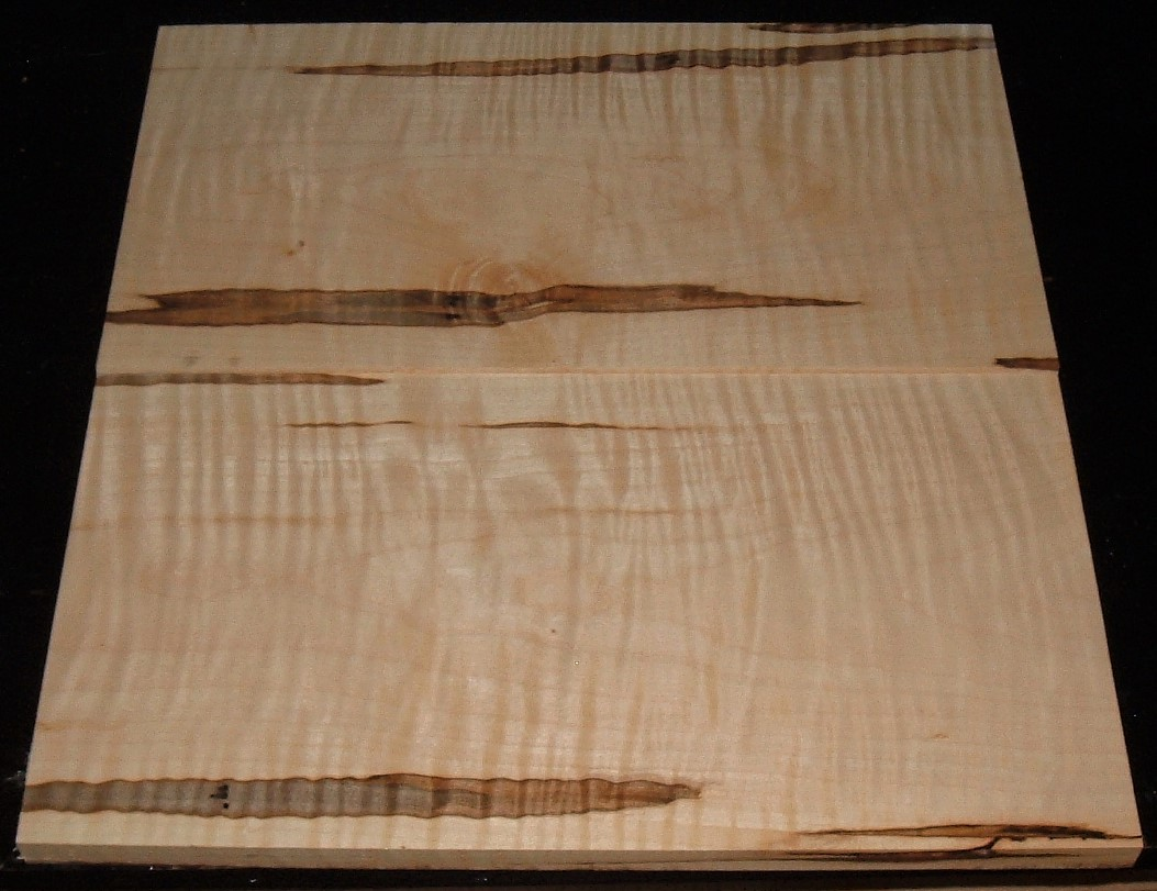 AMS2005-2544JJ, 2bds, 3/4x9-1/4x17 ,3/4x9-1/4x17, Curly Tiger Ambrosia Wormy Maple