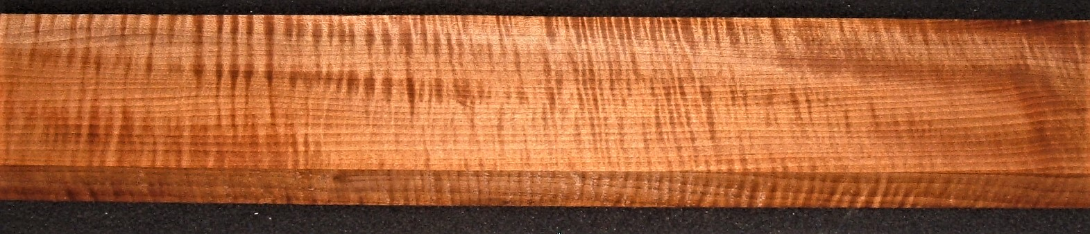 QRM2009-241JK, 1-1/16x3-3/4x45, Roasted Torrefied, Curly Tiger Quartersawn Maple