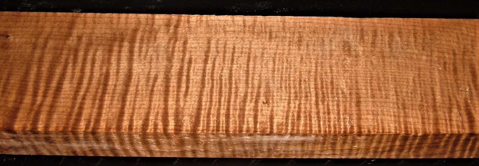 QRM2009-244JK, 1-3/16x3-3/4x45, Roasted Torrefied, Curly Tiger Quartersawn Maple