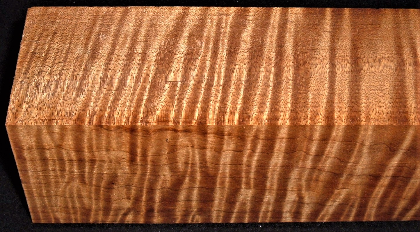 RMT-2591JJ, 2-3/4x2-5/8x12, Torrefied Roasted, Curly Tiger Maple, Turning Block