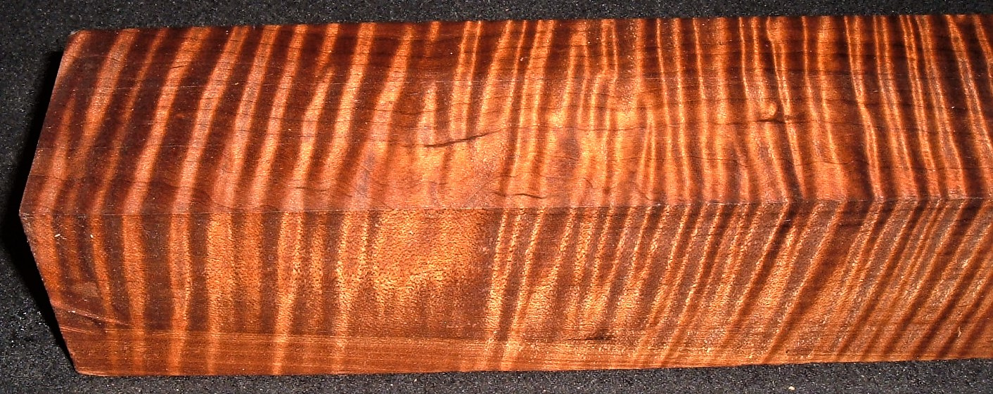 RMT-2596JJ, 2-9/16x2-1/2x16-1/2, Torrefied Roasted, Curly Tiger Maple, Turning Block