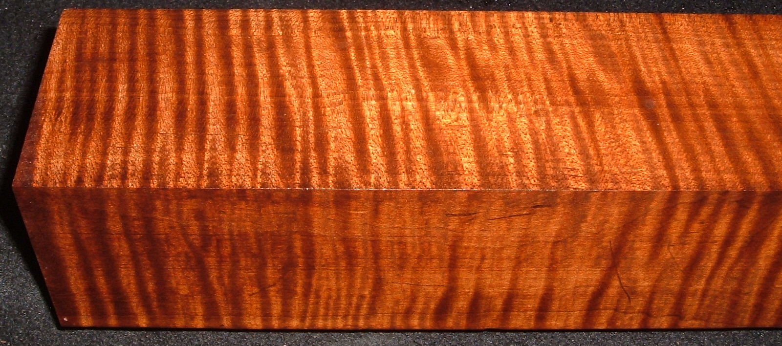 RTB-9,2-5/8x2-5/8x14, Torrefied Roasted, Curly Tiger Maple, Turning Block