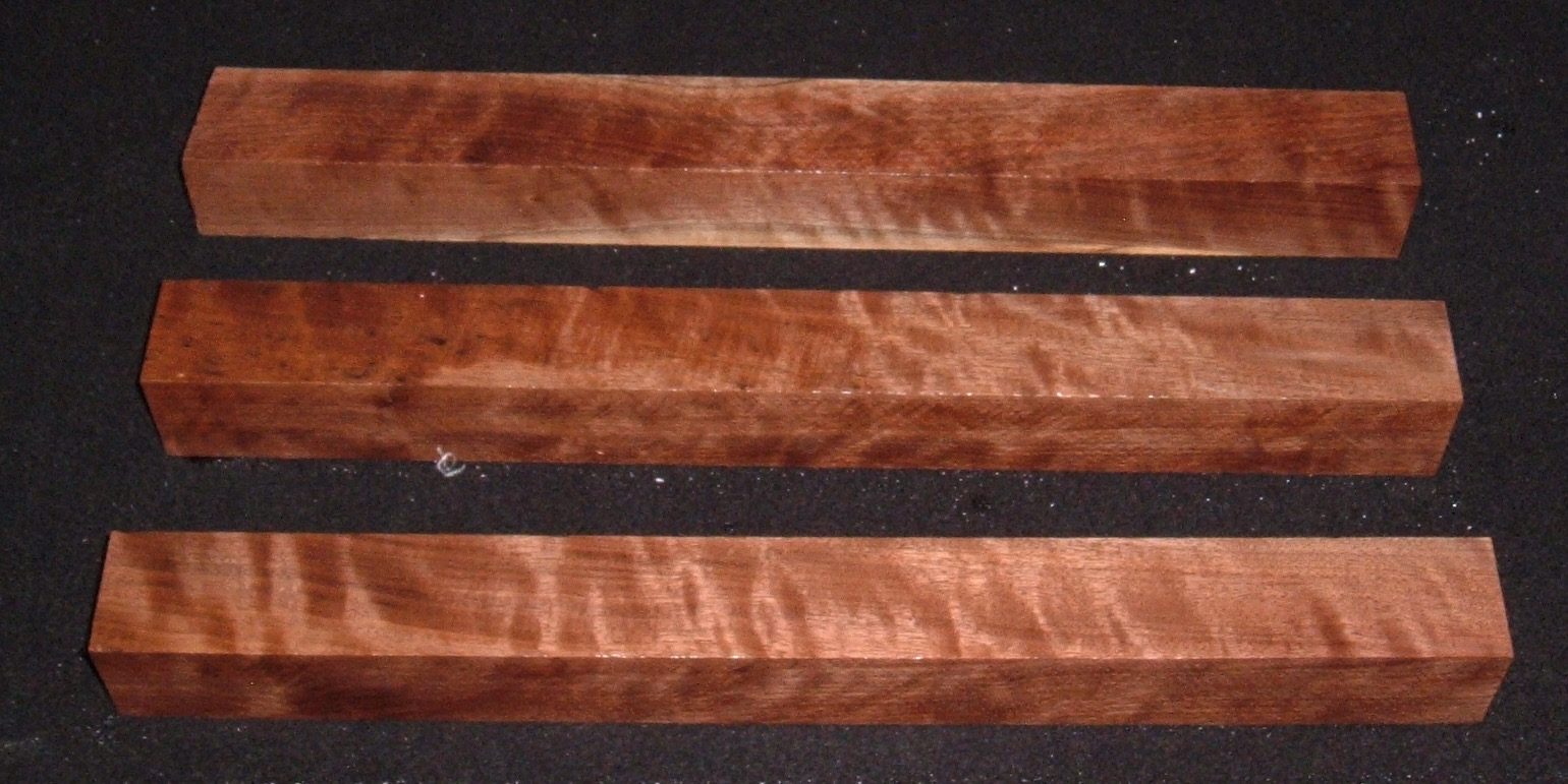 S-2197, (3) 1-13/16x1-13/16x18, Figured Curly Black Walnut Turning Squares