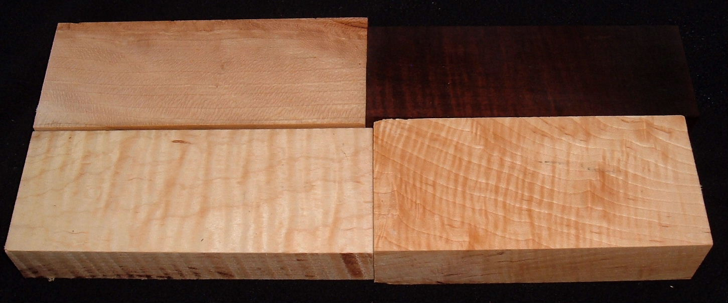 S-2420e,  Curly Maple, Curly Walnut, Curly Roasted Maple, Wood Craft Board Hobby Pack
