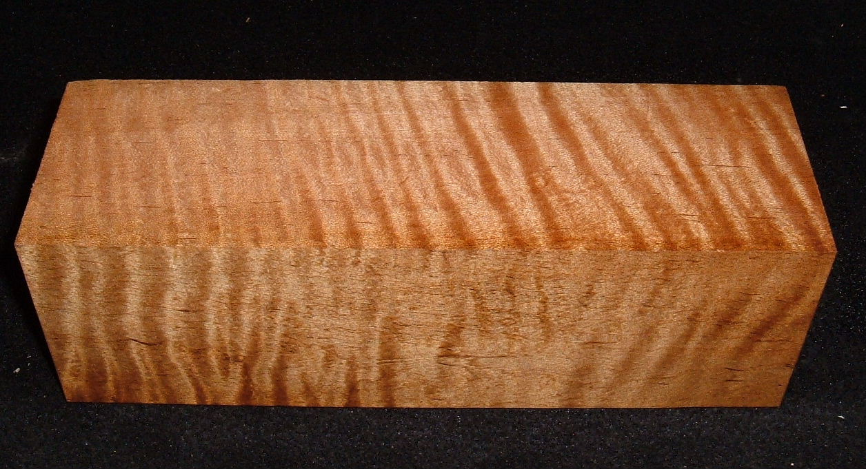 RMS-2762, 2-7/8x3x9, Roasted Torrefied Curly Tiger Maple, Turning Block