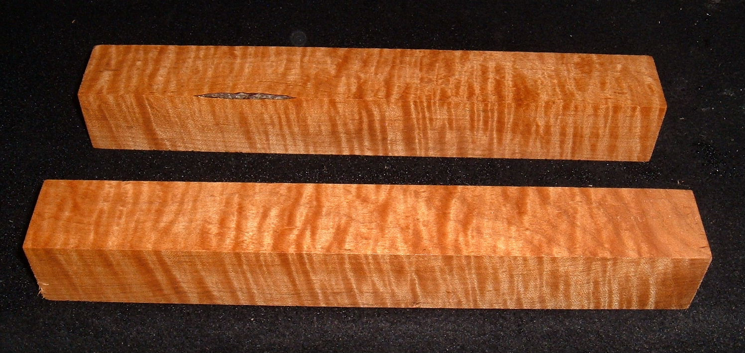 RMS-2765, (2) 1-1/2x1-1/2x11, Roasted Torrefied, Curly Tiger Maple