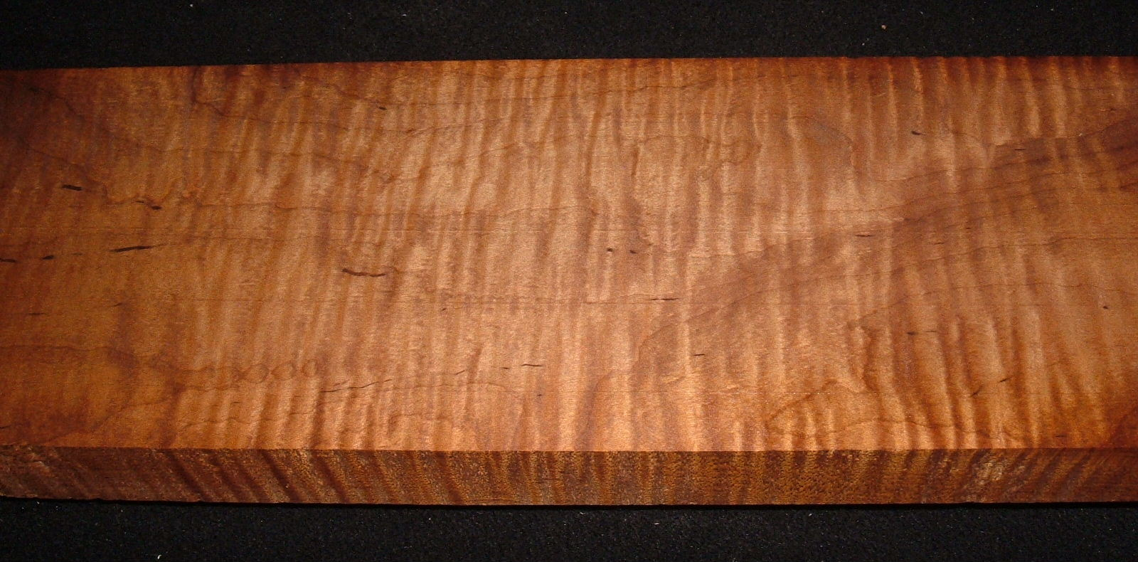 RMS-3199,1-7/16x5-5/8x25+, Roasted Torrefied, Curly Tiger Maple