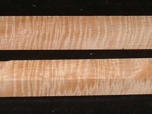 TB-5, (2) 1-5/8x1-5/8x23, Curly Tiger Maple, Turning Squares Blocks