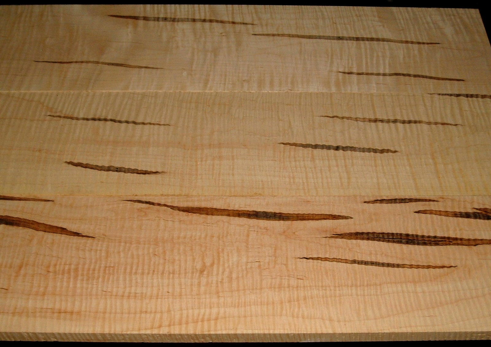 AM2002-39, 3 BD Set,+7/8x7-3/4x37, +7/8x8-1/4x37, 7/8x8x37, Curly Ambrosia Maple