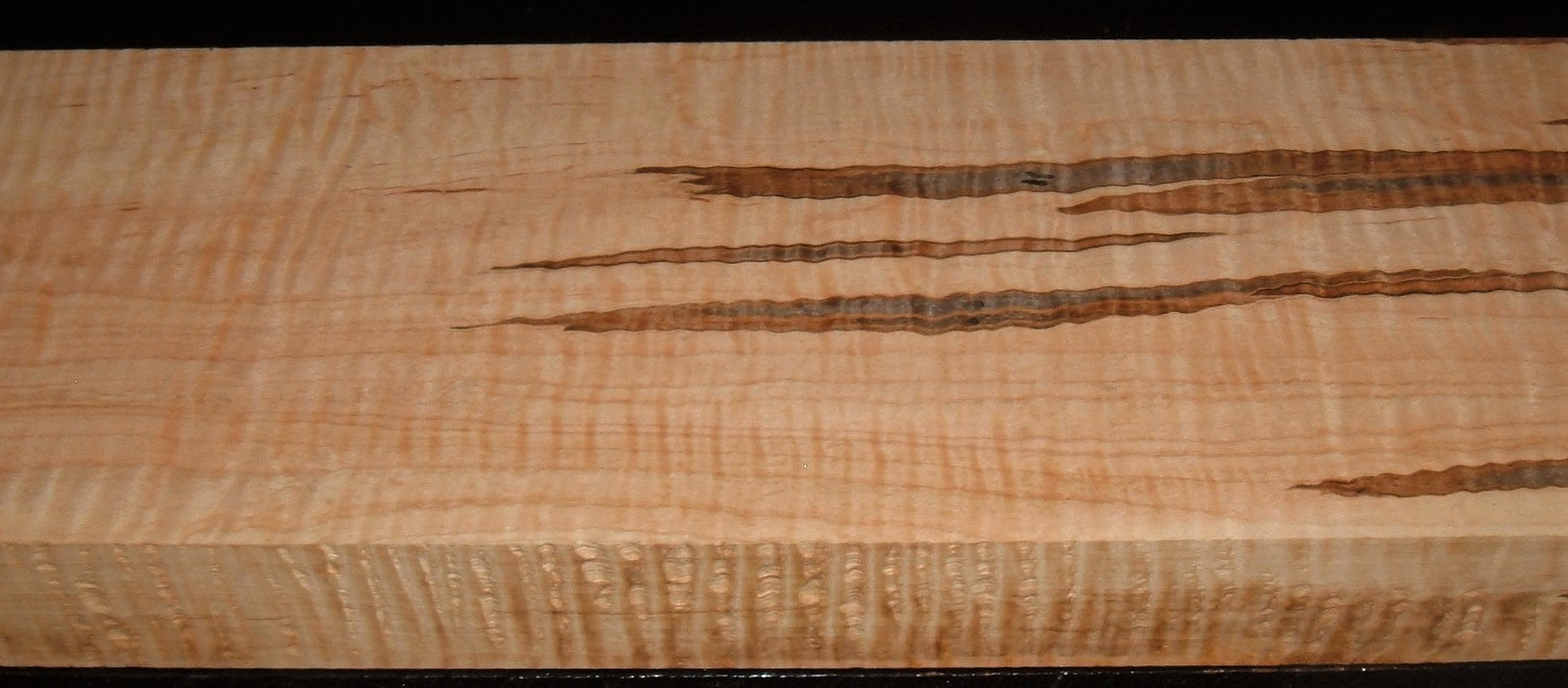 AM2003-62JJE, 1-3/4x7-1/4x43, Curly Tiger Ambrosia Wormy Maple