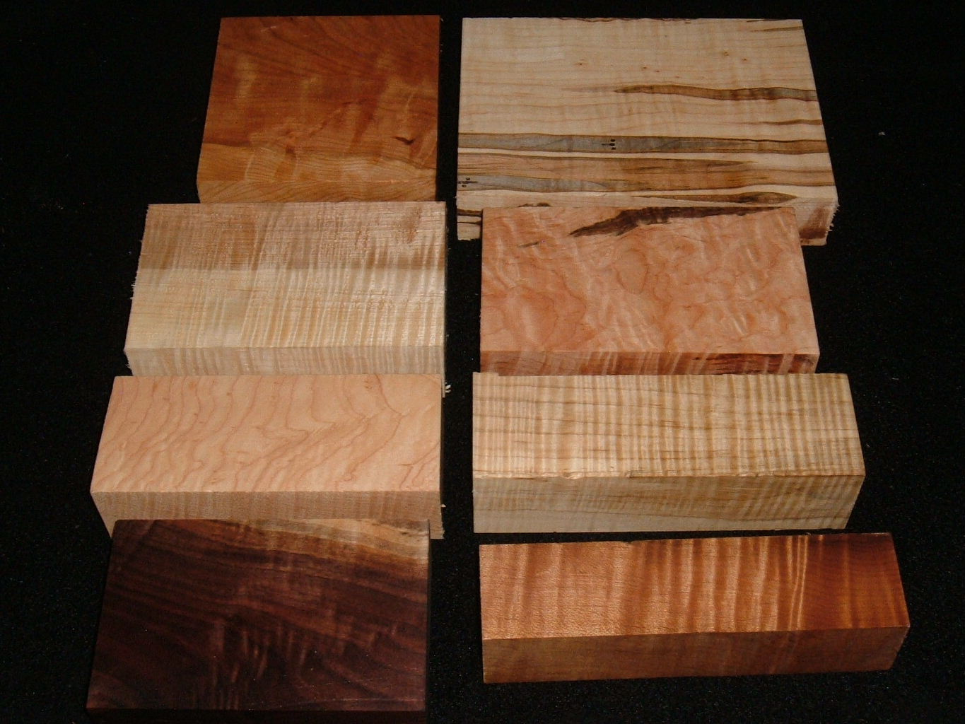 HP-2458, Variety of 8/4 Figured Hardwoods,Lumber Craft Board Hobby Pack