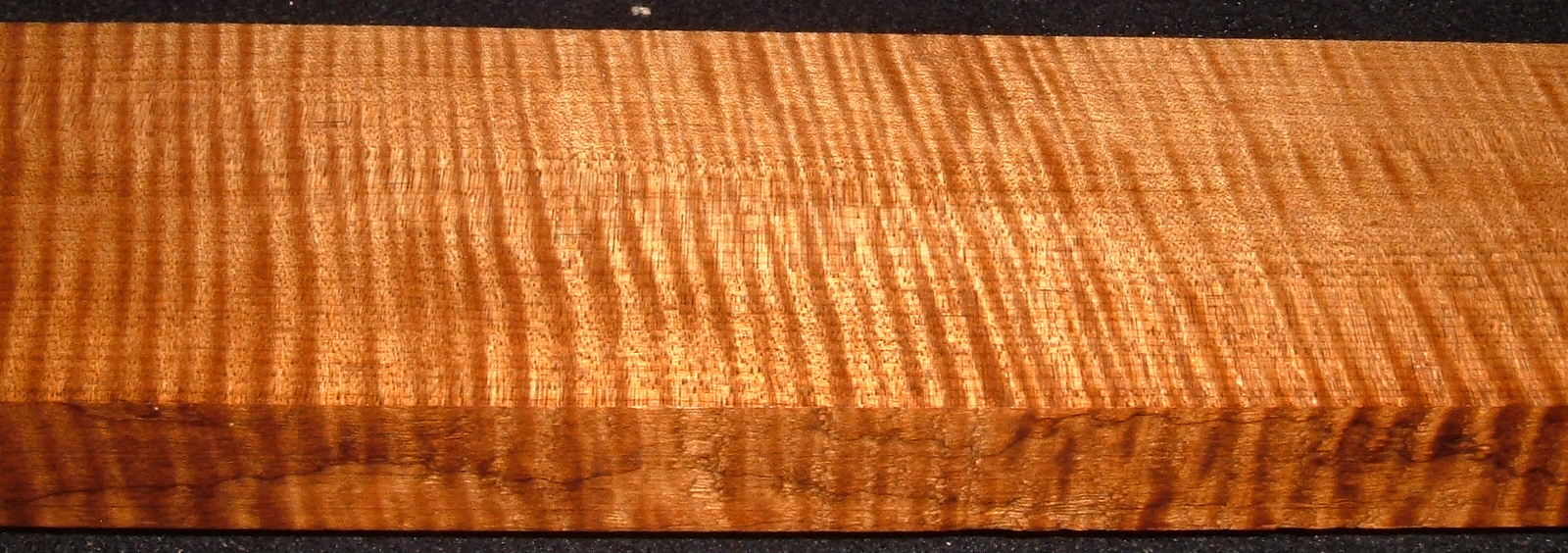 QRM2008-227, +1-1/8x3x46, Quartersawn Roasted Curly Maple