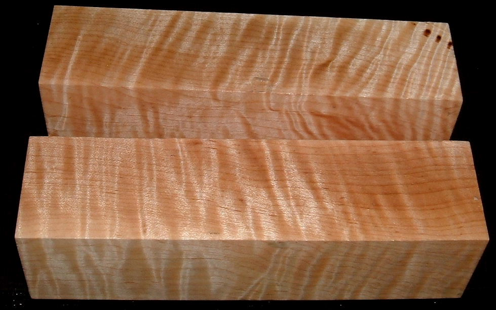 MS-2000n, (2) 1-7/8x2x7+, Curly Tiger Maple, Turning Blocks