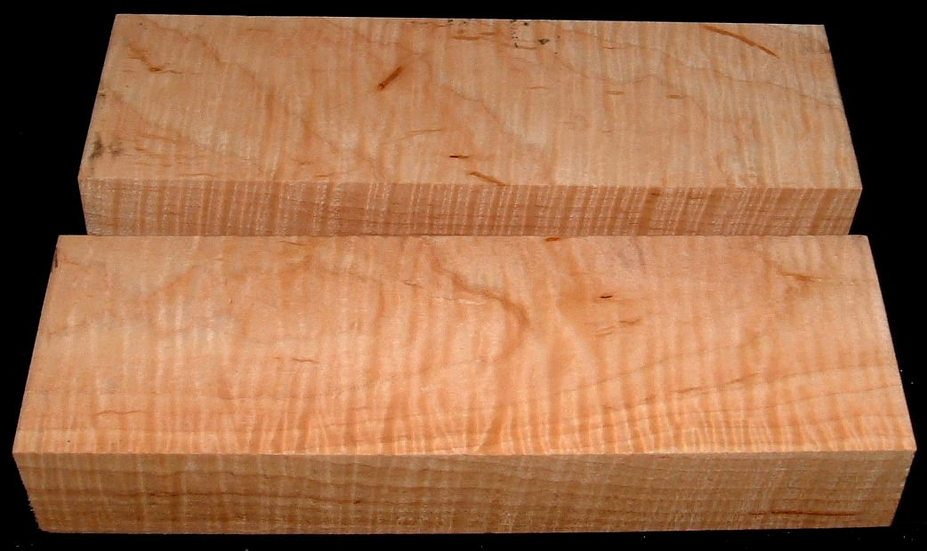 MS-2003n, ((2) 1-5/8x2-7/8x8+, Curly Tiger Maple, Turning Blocks