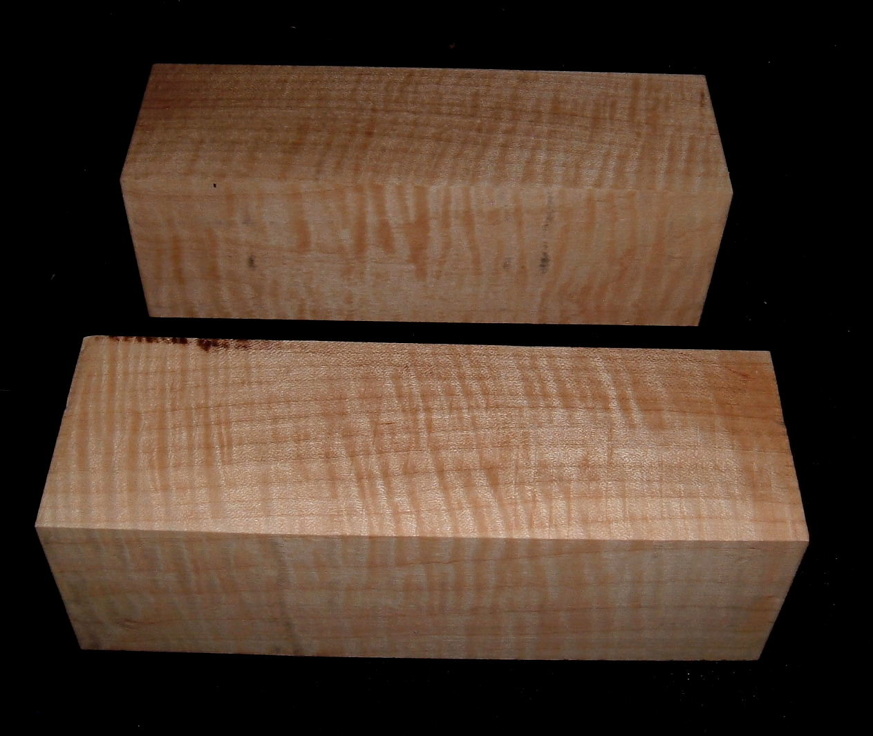MS-2757n, (2) 2-1/2x2-1/2x7-3/4, Curly Tiger Maple, Turning Wood