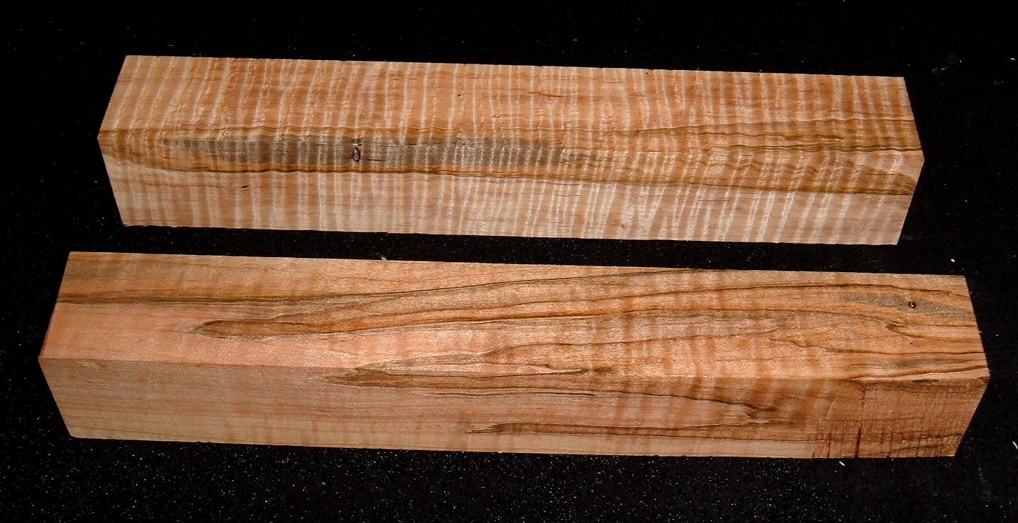 AMS-2764n, (2) 1-9/16x1-9/16x10+, Curly Tiger Ambrosia Maple, Turning Bocks