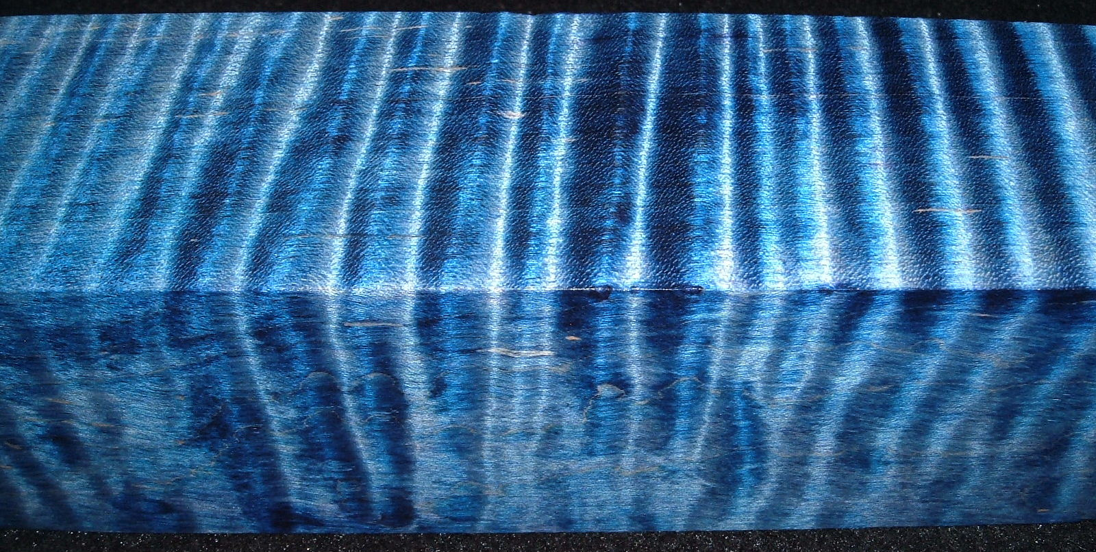 Z490, Curly Maple Dyed Stabilized, wood turning block, Blue, 1-7/8x1-7/8x6-1/4