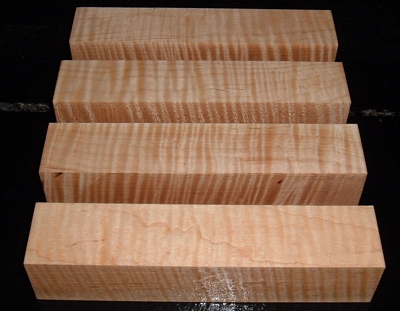 S-2219, (4) 1-3/4x1-3/4x8-3/4, Curly Tiger Maple, Wood Turning Blocks
