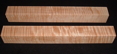 S-2401, (2) 1-15/16x2+x17+, Curly Tiger Maple, Turning Squares Blocks