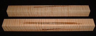 S-2409, (2) 1-3/4x1-7/8x18, Curly Tiger Maple, Turning Square Block