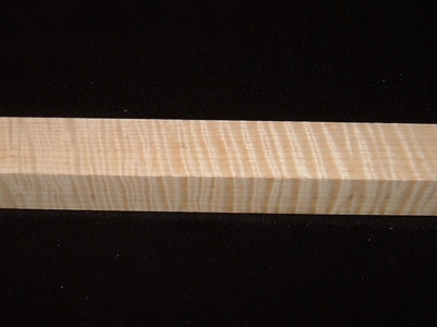 S-2412, 1-7/8x1-7/8x24, Curly Tiger Maple, Turning Square Block