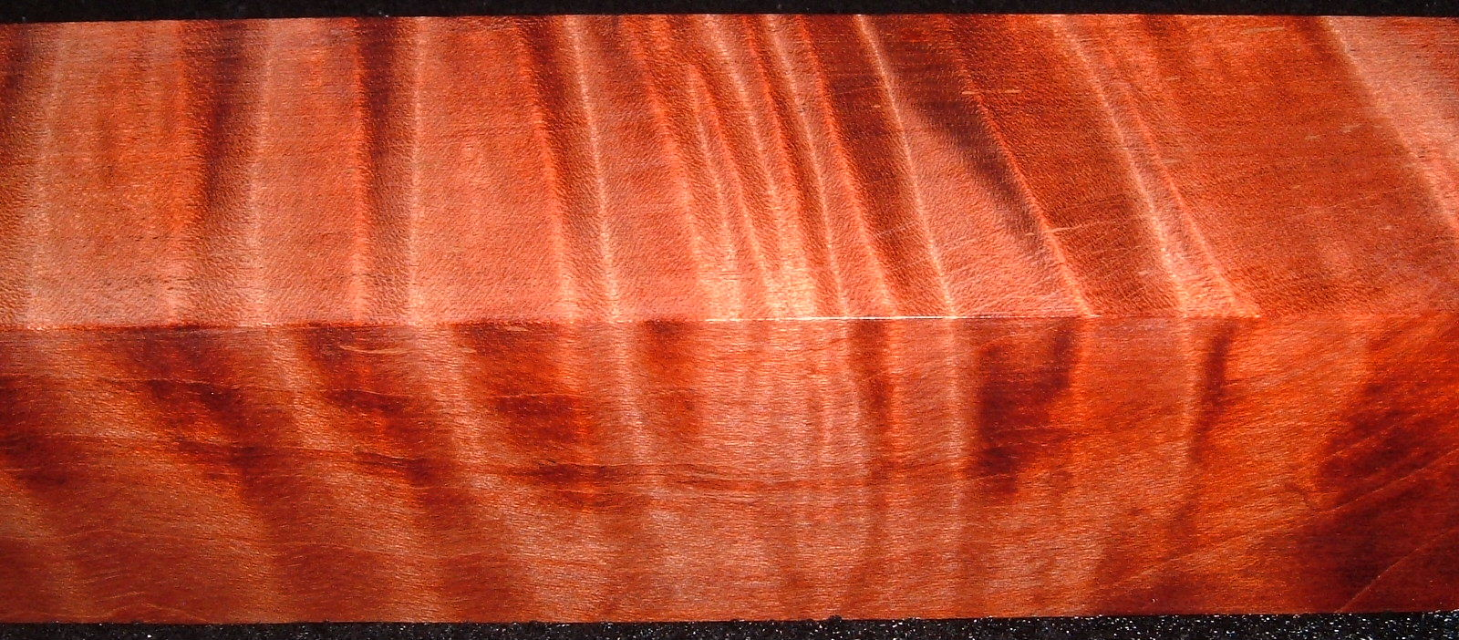 Z155, 1-7/16x1-7/16x6-1/4, Orange, Curly Tiger Maple Dyed Stabilized, wood turning block
