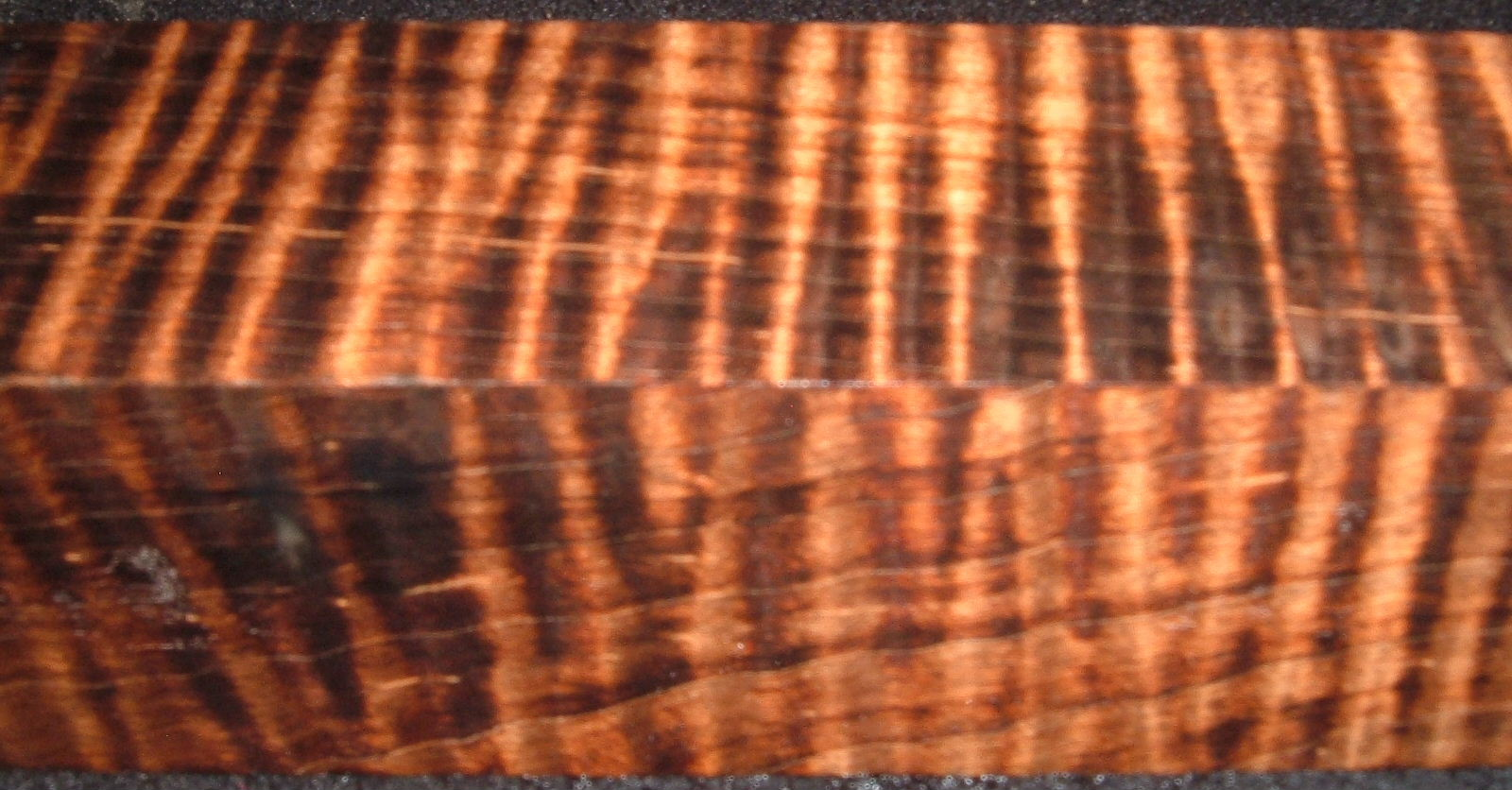 Z305, 1-7/8x1-7/8x6-1/4 ,Black Curly Tiger Maple Dyed Stabilized, wood turning block