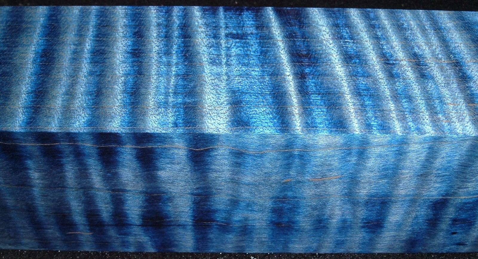 Z308, 1-7/8x1-7/8x6-1/2 ,Blue, Curly Tiger Maple Dyed Stabilized, wood turning block