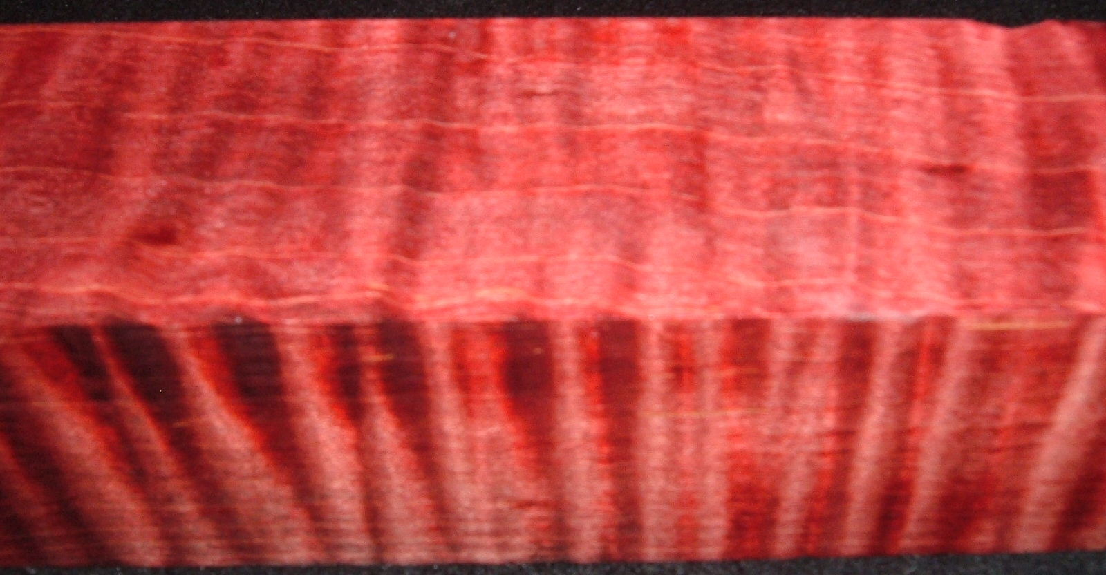 Z309, 1-7/8x1-7/8x6-3/8 ,Red, Curly Tiger Maple Dyed Stabilized, wood turning block