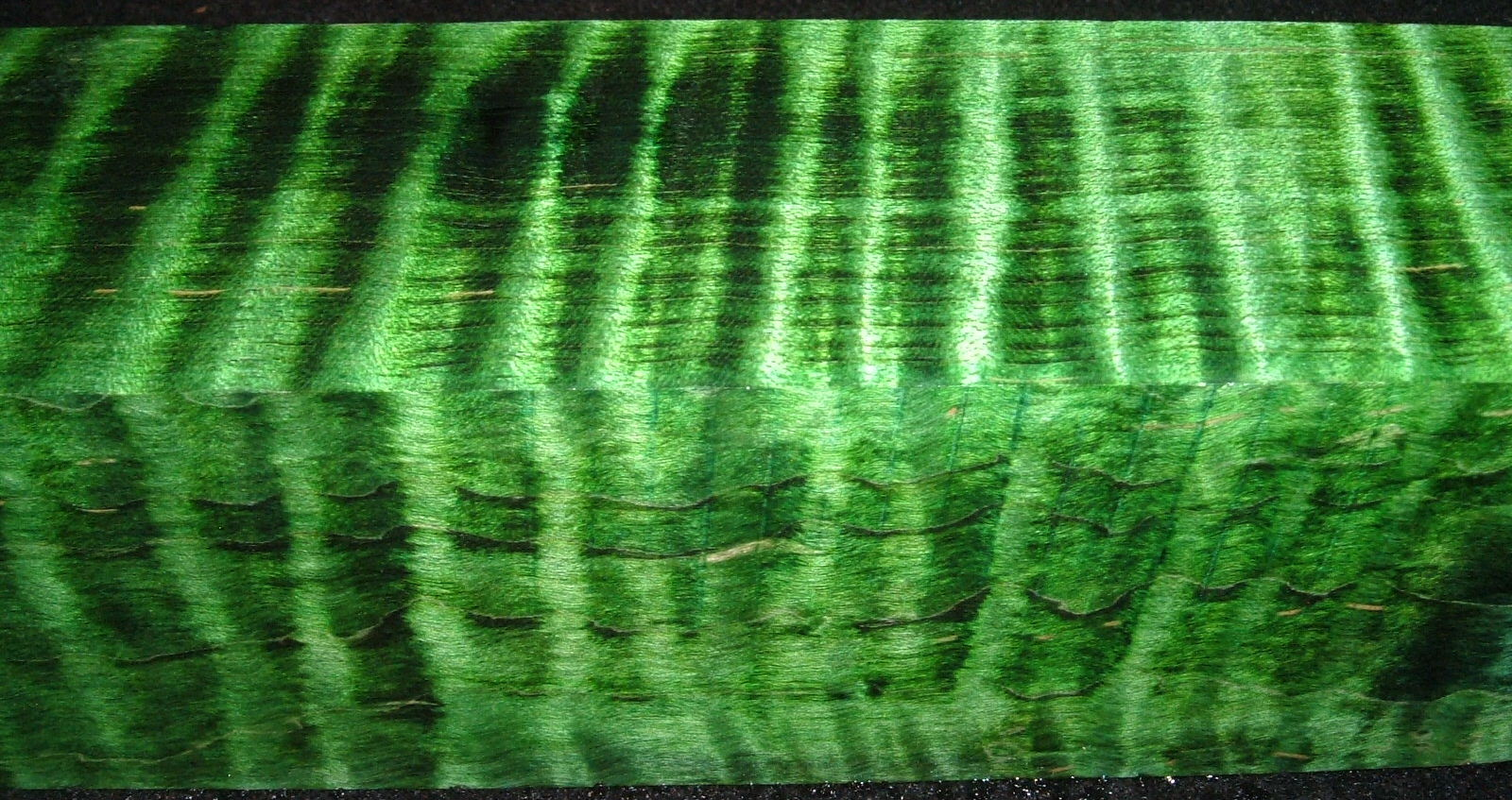 Z310, 1-7/8x1-7/8x6-3/8 ,Green, Curly Tiger Maple Dyed Stabilized, wood turning block