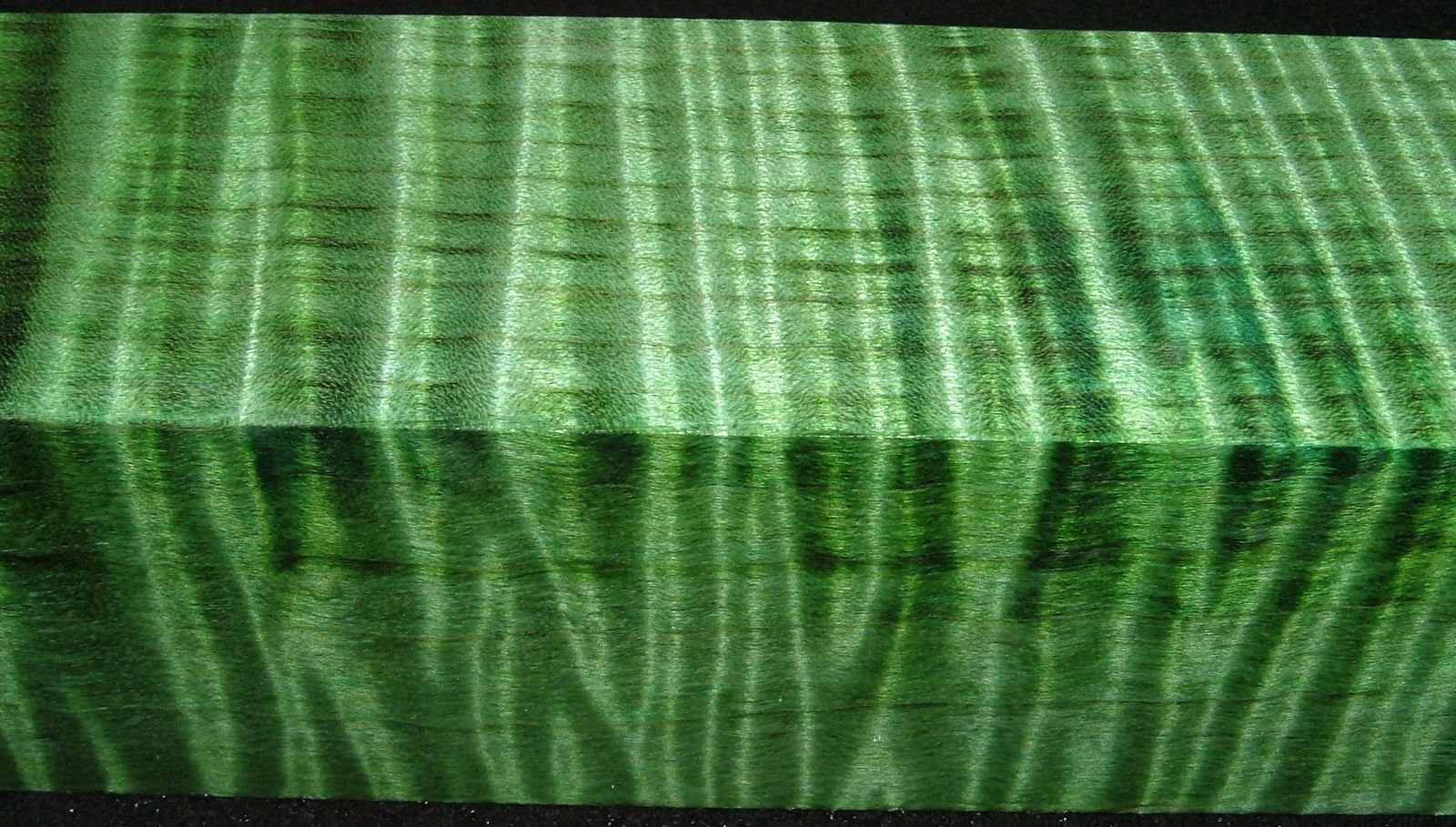 Z322, 1-7/8x1-7/8x7-1/4 ,Green, Curly Tiger Maple Dyed Stabilized, wood turning block