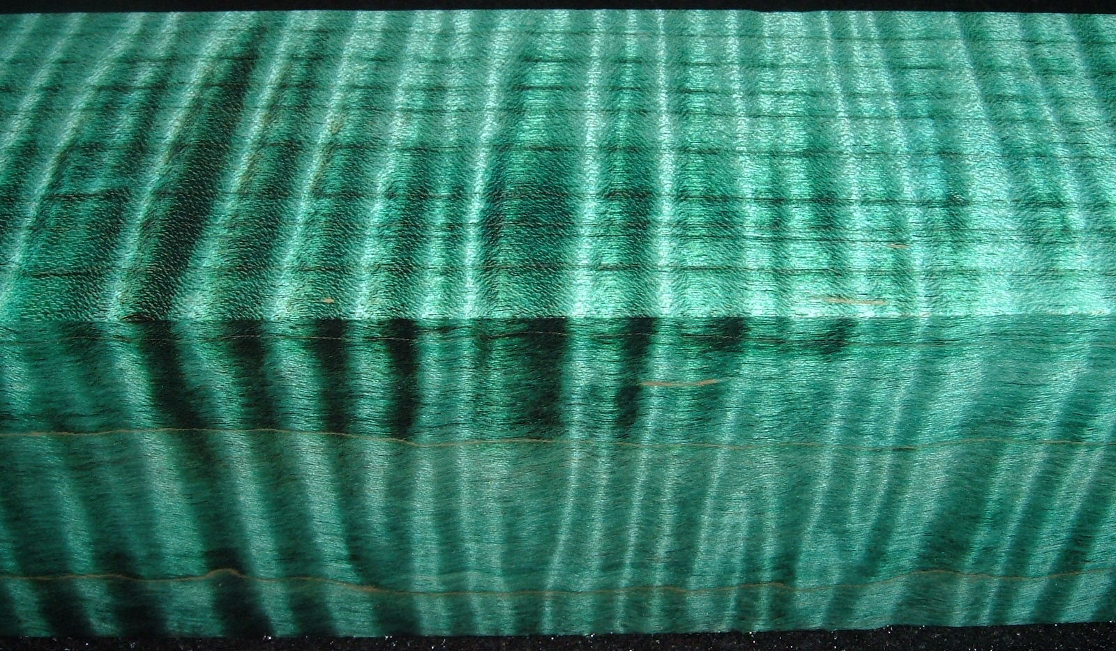 Z524, 1-7/8x1-7/8x6-1/2, Teal, Curly Tiger Maple Dyed Stabilized, wood turning block