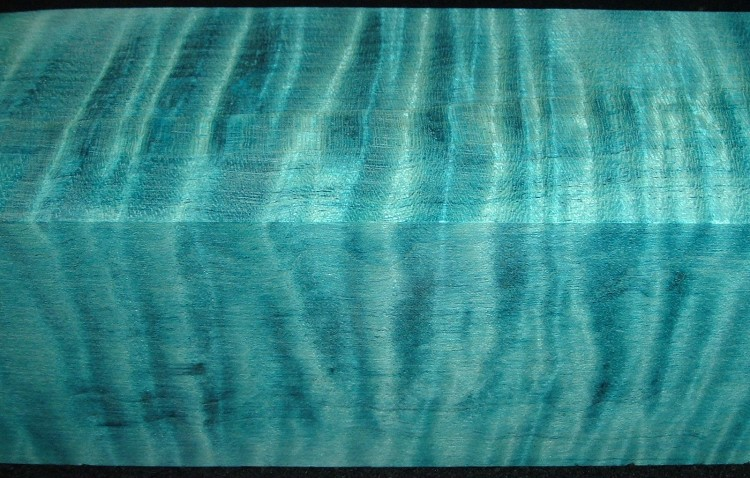 Z385, Curly Tiger Maple Dyed Stabilized, wood turning block, Sky Blue, 1-7/8x1-7/8x6-1/2