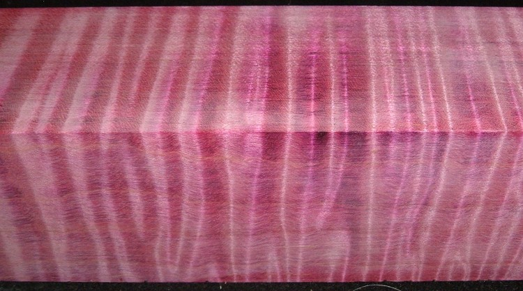Z399, Curly Tiger Maple Dyed Stabilized, wood turning block, Magenta, 1-7/8x1-7/8x6-1/2