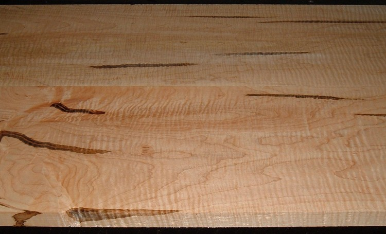 AM2005-76JJ, 2 Bd Set, 15/16x10-1/2x46 ,1-1/16x10-1/4x46, Curly Tiger Ambrosia Wormy Maple