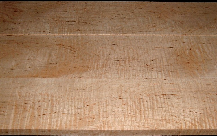 M2007-553, 3 Bd Set, 1-1/16x6-1/4x41, 1-1/8x7x41, 1-1/8x7-1/8x41, Curly Tiger Maple, Cut from Same Plank, Mineral Streaked Curly Maple