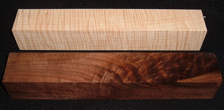 S-2426e,  Curly Figured Black Walnut/Curly Maple, Hobby Turning Wood Squares