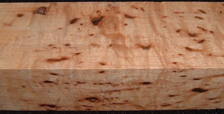 Z544, 15/16x1-3/4x5-1/4, Clear Bark Included, Curly Tiger Maple Stabilized, wood block scales/handle
